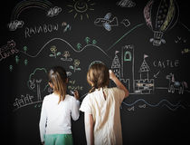 Blackboard Drawing Creative Imagination Idea Concept Royalty Free Stock Images