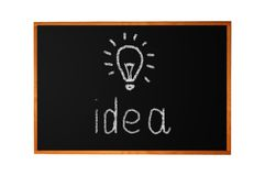 Blackboard with drawing light bulb Stock Images