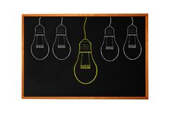 Blackboard with drawing light bulb Stock Image