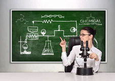Blackboard with drawing scheme chemical reaction Royalty Free Stock Photography