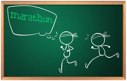 A blackboard with a drawing of two boys having a marathon. Illustration of a blackboard with a drawing of two boys having a marathon on a white background vector illustration