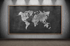 Blackboard with drawing world map Stock Photography