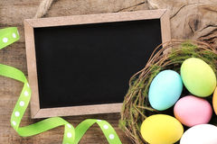 Blackboard with Easter ornament Royalty Free Stock Photography