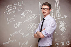 Blackboard with economic graphs Stock Photos