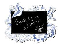 Blackboard with educational symbols Stock Images