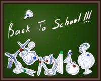 Blackboard with educational symbols Royalty Free Stock Photo