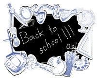 Blackboard with educational symbols Stock Photography