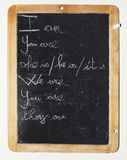 Blackboard. English lessons on a blackboard, handwritten Stock Images