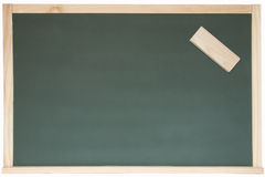 Blackboard and eraser Stock Photo