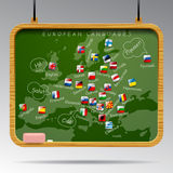 Blackboard of European languages Royalty Free Stock Image