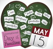 Blackboard with Family Members to Celebrate International Day of Families, Vector Illustration. Heart shaped blackboard with family members written in notebook vector illustration
