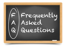 Blackboard FAQ. Detailed illustration of a FAQ term explanation on a blackboard royalty free illustration