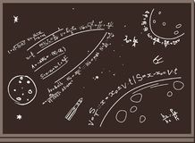 Blackboard. Figures with chalk. Space. Formulas. Planets, rockets. Brown background. Numbers, equations, formulas, space, planets, rockets, satellites are drawn Royalty Free Stock Image