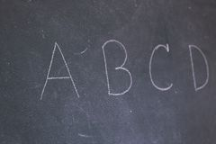 Blackboard with the first letters of the alphabet Royalty Free Stock Image