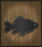 Blackboard fish. Board card template Royalty Free Stock Image