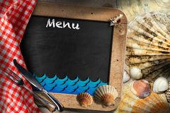 Blackboard for Fish Menu in a Beach Royalty Free Stock Images
