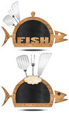 Blackboard Fish Shaped - Fish Menu Stock Photos