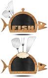 Blackboard Fish Shaped - Fish Menu Stock Photos