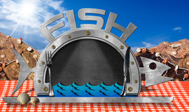 Blackboard Fish Shaped with Fishing Nets. Blackboard in the shape of fish and serving dome with silver cutlery on a table with checkered tablecloth and fishing Royalty Free Stock Image