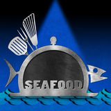 Blackboard Fish Shaped - Seafood Menu Stock Photo