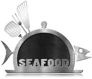 Blackboard Fish Shaped - Seafood Menu Royalty Free Stock Photography