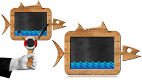 Blackboard Fish Shaped - Seafood Menu. Two empty blackboards with wooden frame in the shape of fish and blue waves. Template for a fish menu. Isolated on white Stock Image