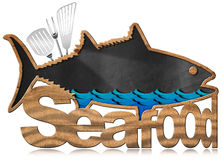 Blackboard Fish Shaped - Seafood Menu Royalty Free Stock Photo