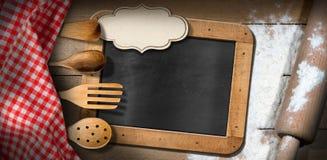 Blackboard - Flour - Rolling Pin - Kitchen Utensils Royalty Free Stock Photography
