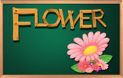 A blackboard with a flower Stock Photos