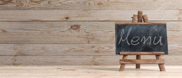 Blackboard on folding wooden easel and menu inscription, against wooden background with copy space and text, banner, 3d. Illustration royalty free illustration