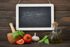 Blackboard with food ingredients Stock Photography