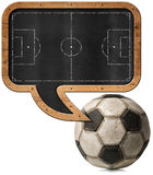 Blackboard with Football Field and Ball. Blackboard with wooden frame in the shape of a speech bubble with a football field and an old soccer ball.  on white Stock Images