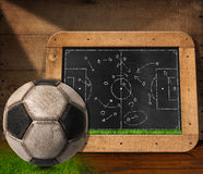 Blackboard with Football Field and Ball. Blackboard with wooden frame, football field and a tactical scheme, on a wooden table with an old soccer ball Royalty Free Stock Image