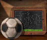 Blackboard with Football Field and Ball. Blackboard with wooden frame, football field and a tactical scheme, on a wooden table with an old soccer ball Stock Photo