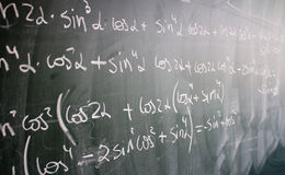 Blackboard with formulas and numbers Royalty Free Stock Image