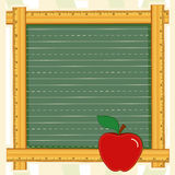 Blackboard Frame, Apple for the Teacher. Back to School blackboard with wooden ruler frame and an apple for the teacher. Add your own text or art. EPS8 organized stock illustration