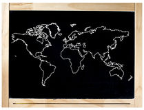Blackboard Frame World Map Isolated royalty free stock images