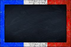 Blackboard with french flag frame Royalty Free Stock Image