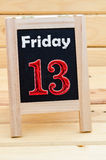 Blackboard with 13 friday. Royalty Free Stock Photo