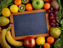 Blackboard and fruit Royalty Free Stock Photo