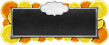 Blackboard with Fruit Frame and Label Royalty Free Stock Photography
