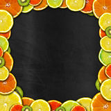 Blackboard with Fruit Frame Stock Image
