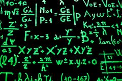 A blackboard full of mathematical equations written with phosphorescent paint to facilitate learning. Photograph taken inside the cinema museum in Turin, Italy royalty free stock images