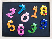 Blackboard with funny numbers. School Blackboard with funny numbers on a wooden table royalty free stock image
