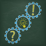 Blackboard Gear Question Idea Answer Royalty Free Stock Images