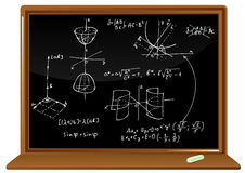 Blackboard with geometric formulas Royalty Free Stock Images