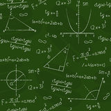 Blackboard with geometric shapes and formulas Royalty Free Stock Image