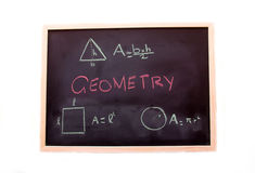 Blackboard with geometry lesson Stock Photos