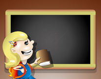 Blackboard and girl. Royalty Free Stock Photos
