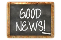 Blackboard Good News. A Colourful 3d Rendered Concept Illustration showing GOOD NEWS writen on a Blackboard with white chalk Royalty Free Stock Photos